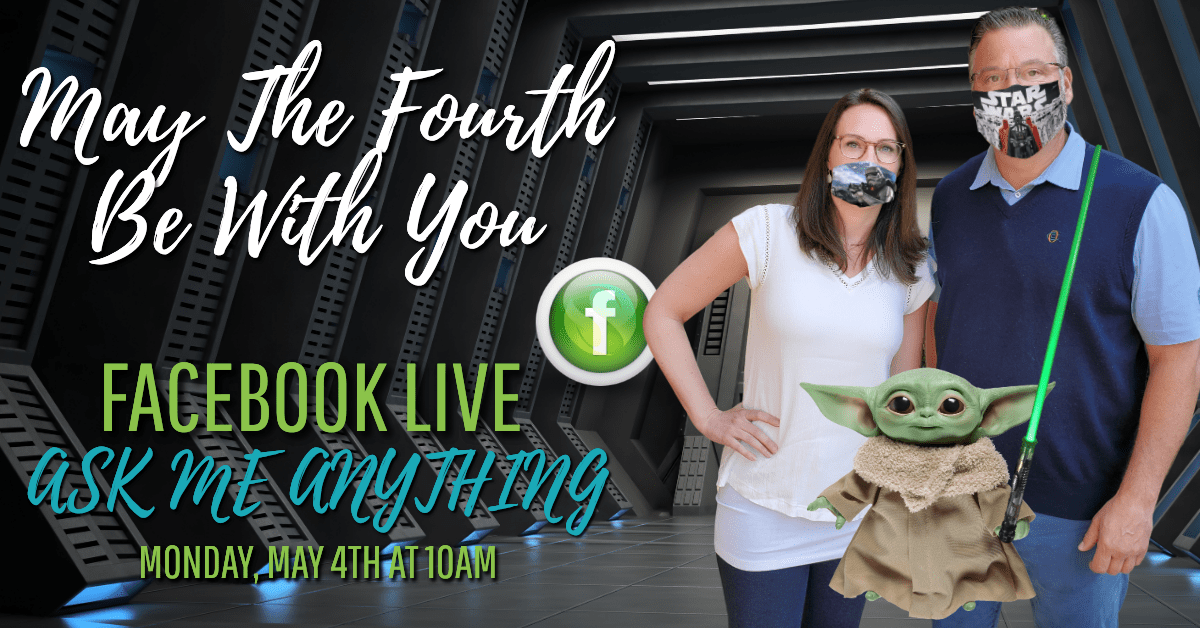 Dr. Simonds and Michelle Kennedy, NP-C wearing Star Wars face masks with Yoda.