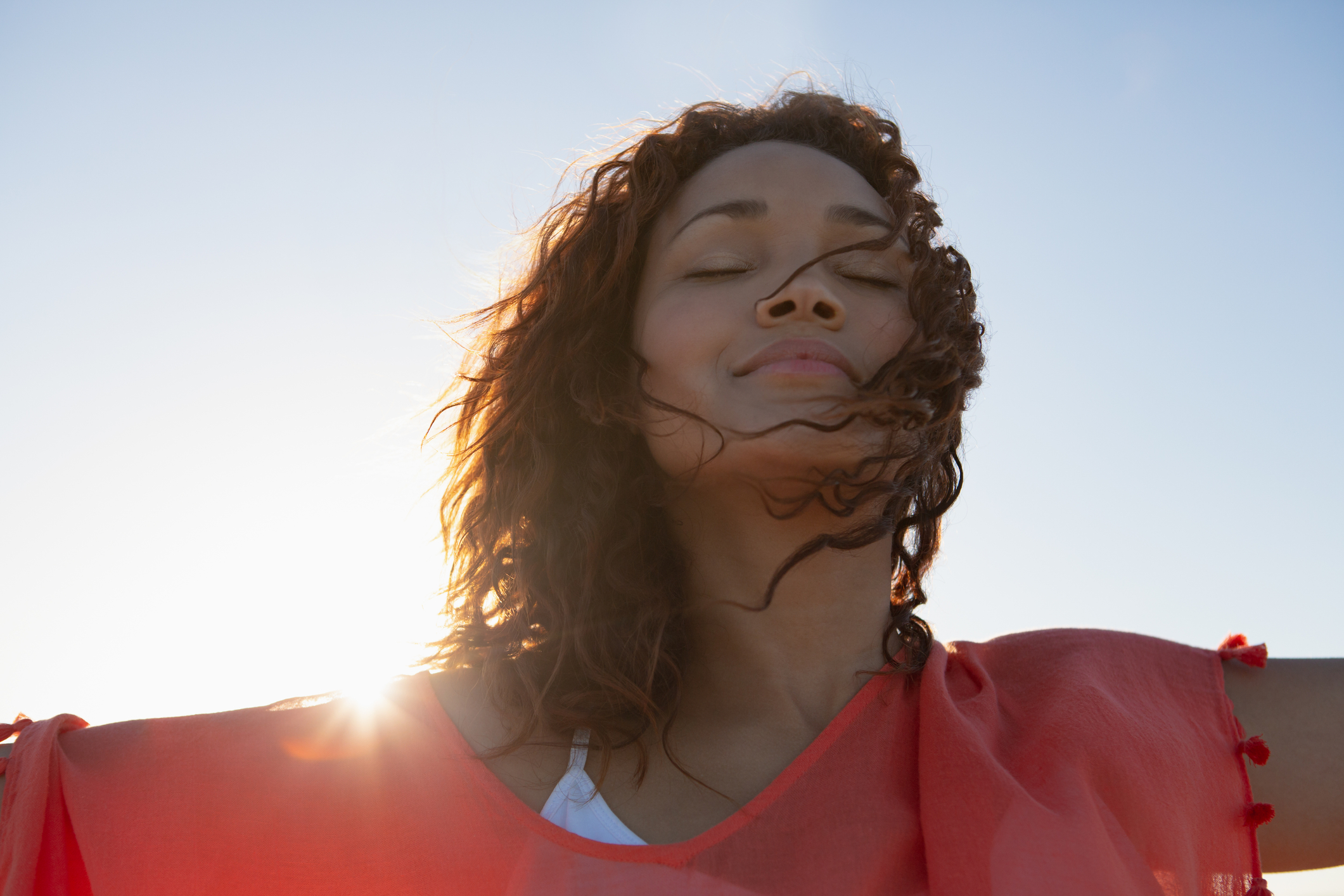 African American woman enjoying the sunshine