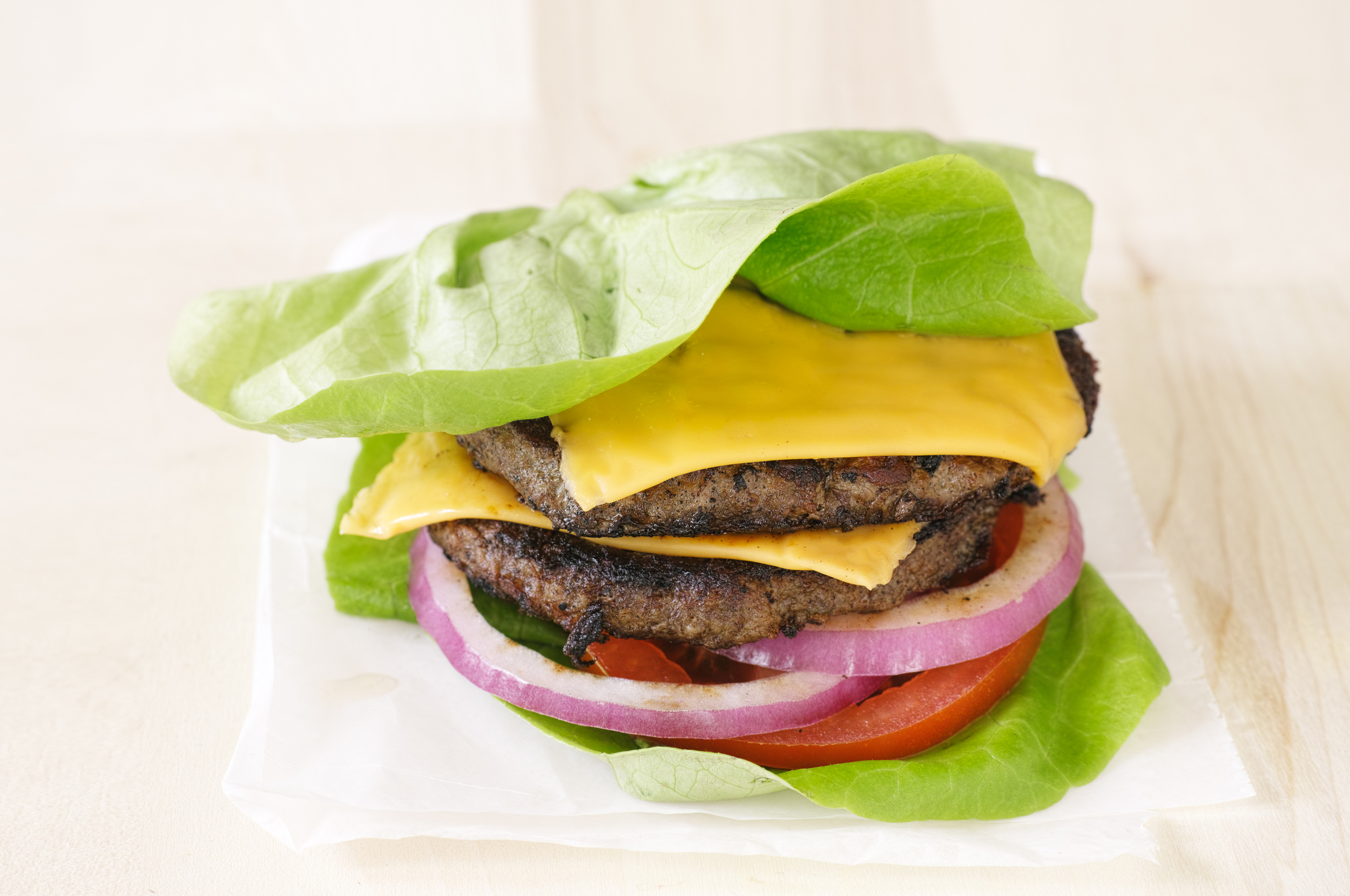 burger wrapped in lettuce